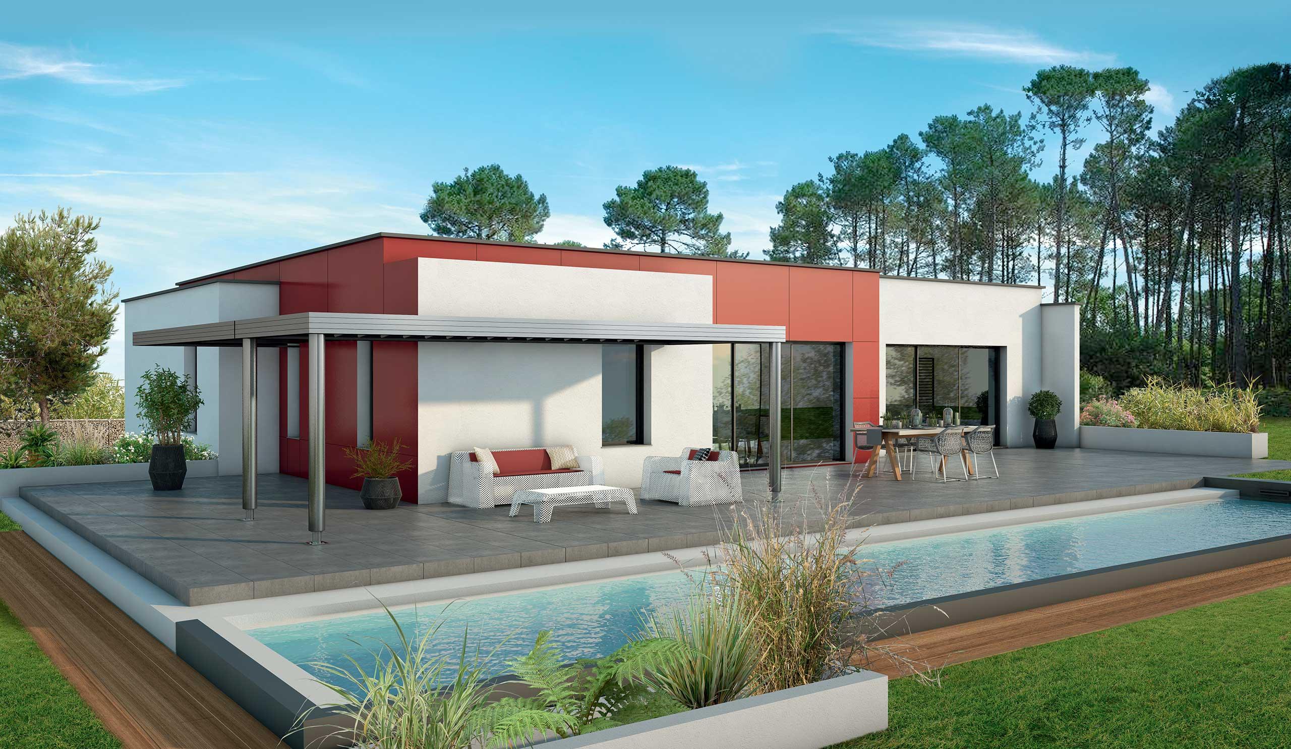 Maison Contemporaine Plain Pied Acajou Avec Plans Demeures D Aquitaine Constructeur Maison Individuelle Nouvelle Aquitaine