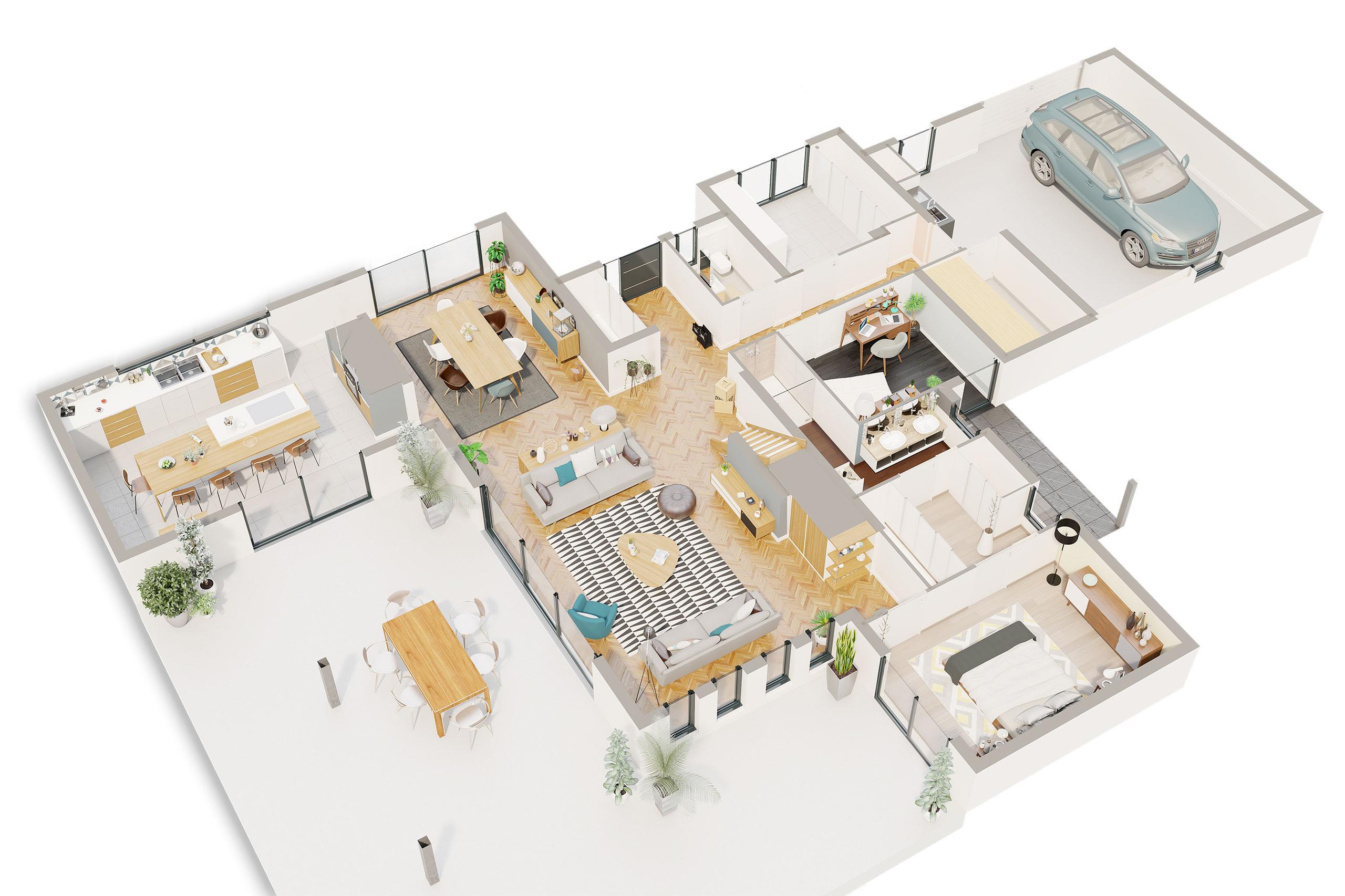 Maison contemporaine Étage Albizia avec plans - Demeures d