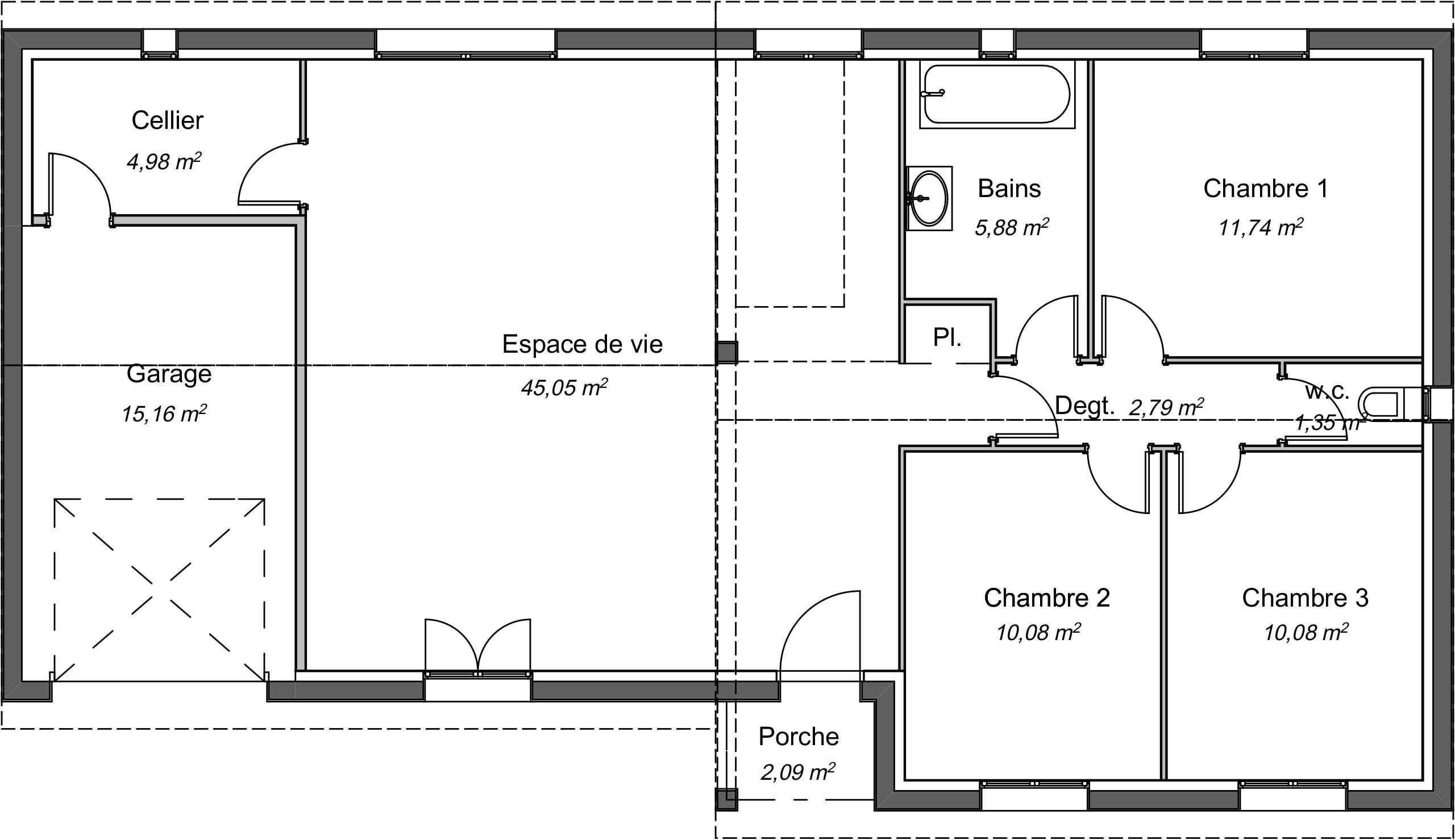 Maison contemporaine plain-pied Lilas avec plans - Demeures d