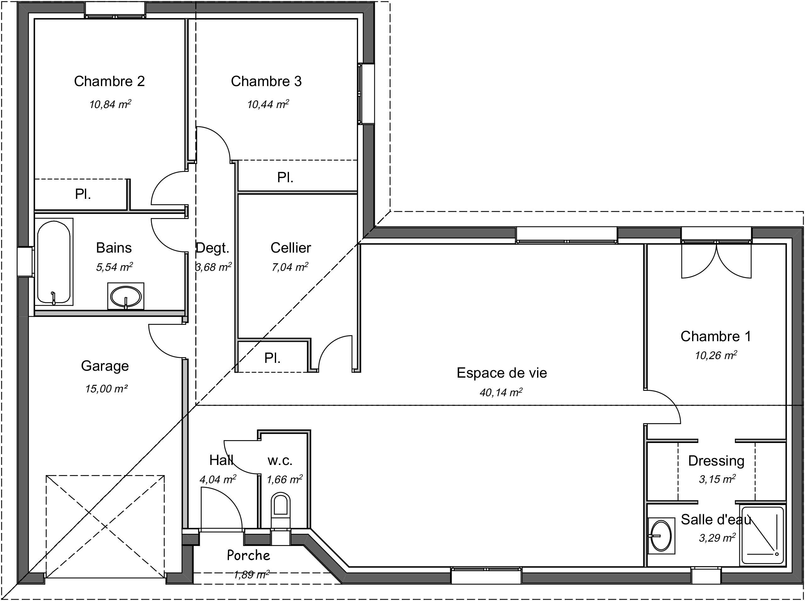 Maison contemporaine plain-pied Mélèze avec plans - Demeures d'Aquitaine Constructeur maison ...