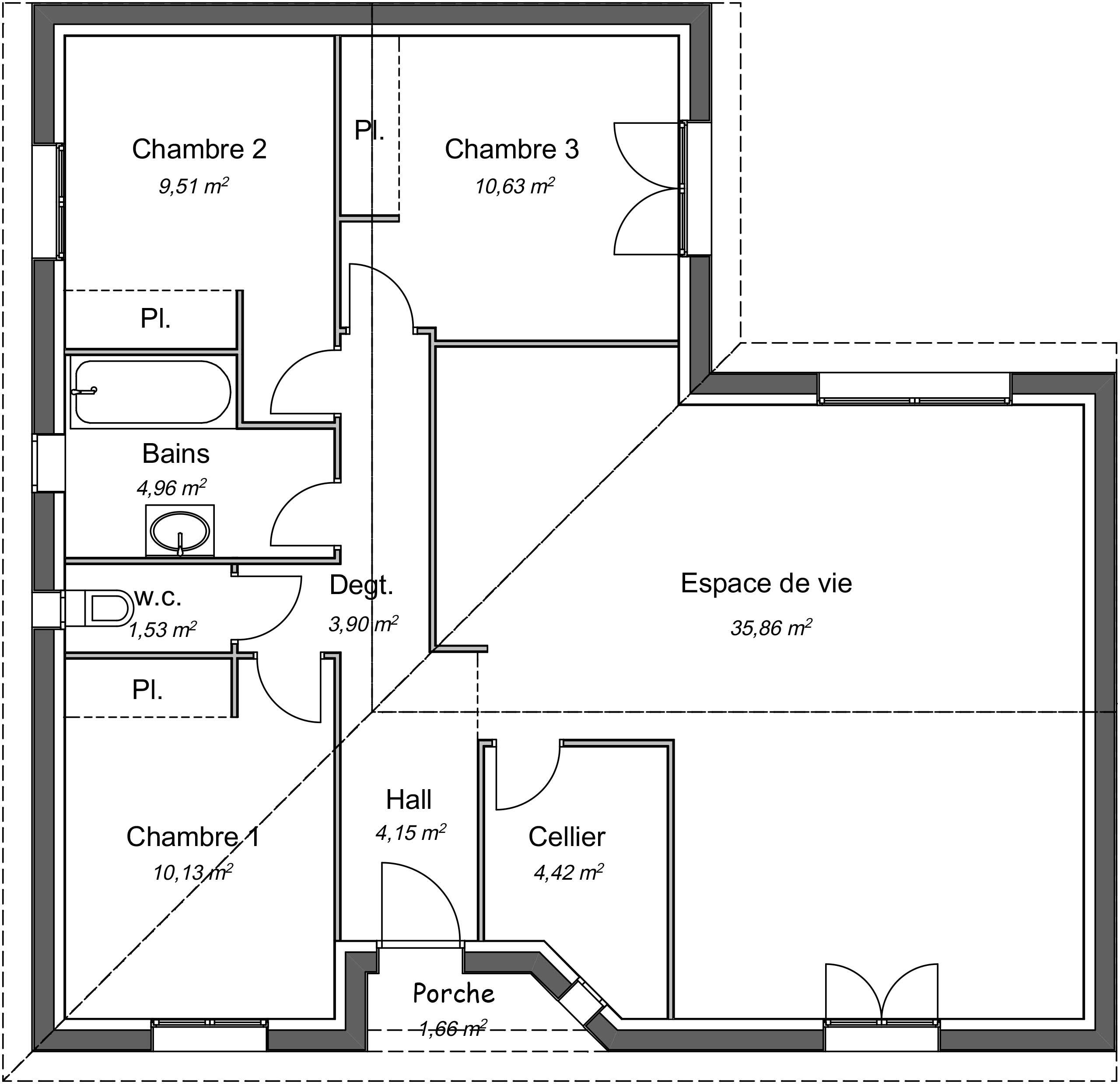 Plan Maison Plain Pied 90m2 2 Chambres | Ventana Blog