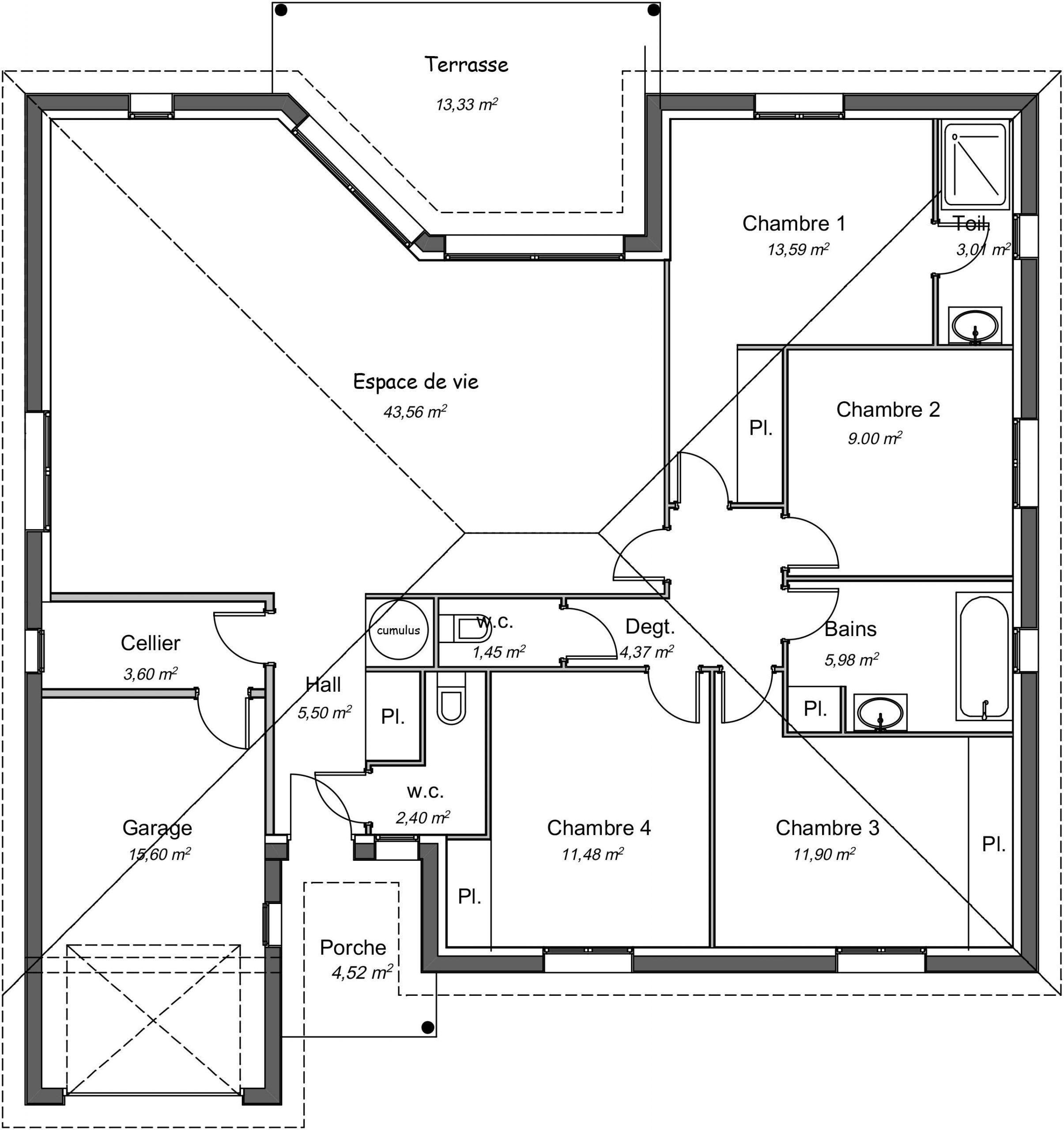 Maison Contemporaine Plain Pied Orme Avec Plans Demeures D