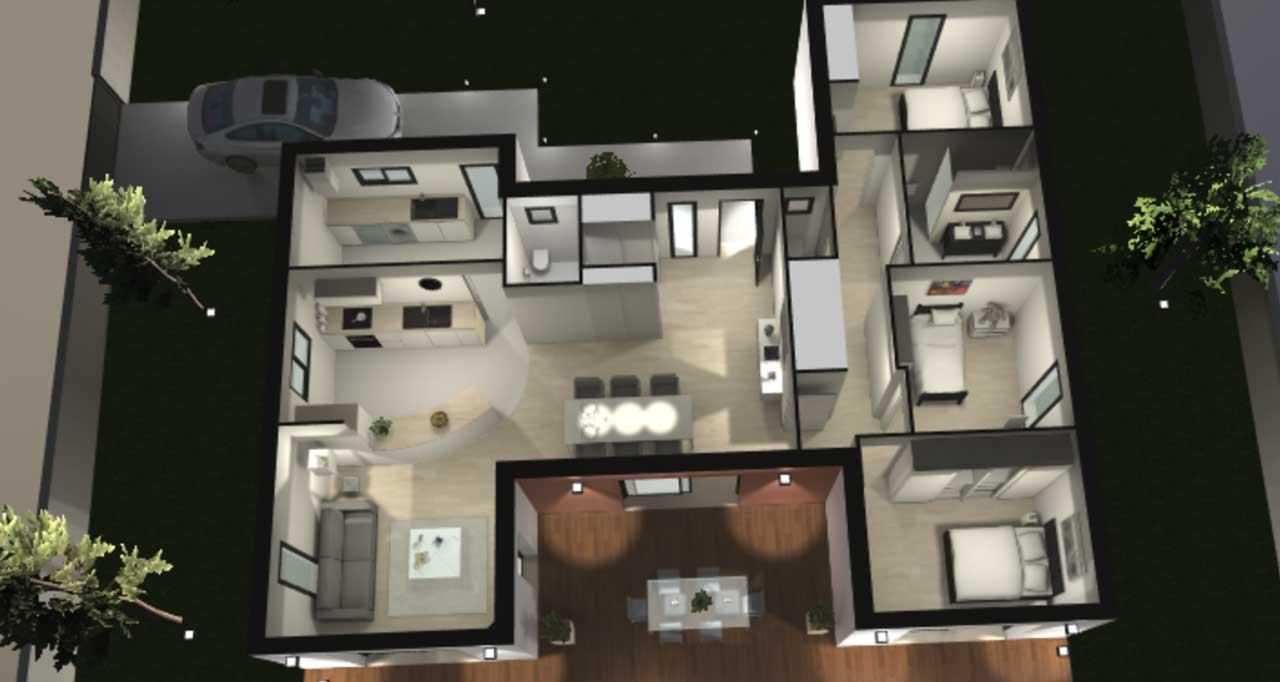 Maison contemporaine plain-pied Hévéa avec plans - Demeures ...