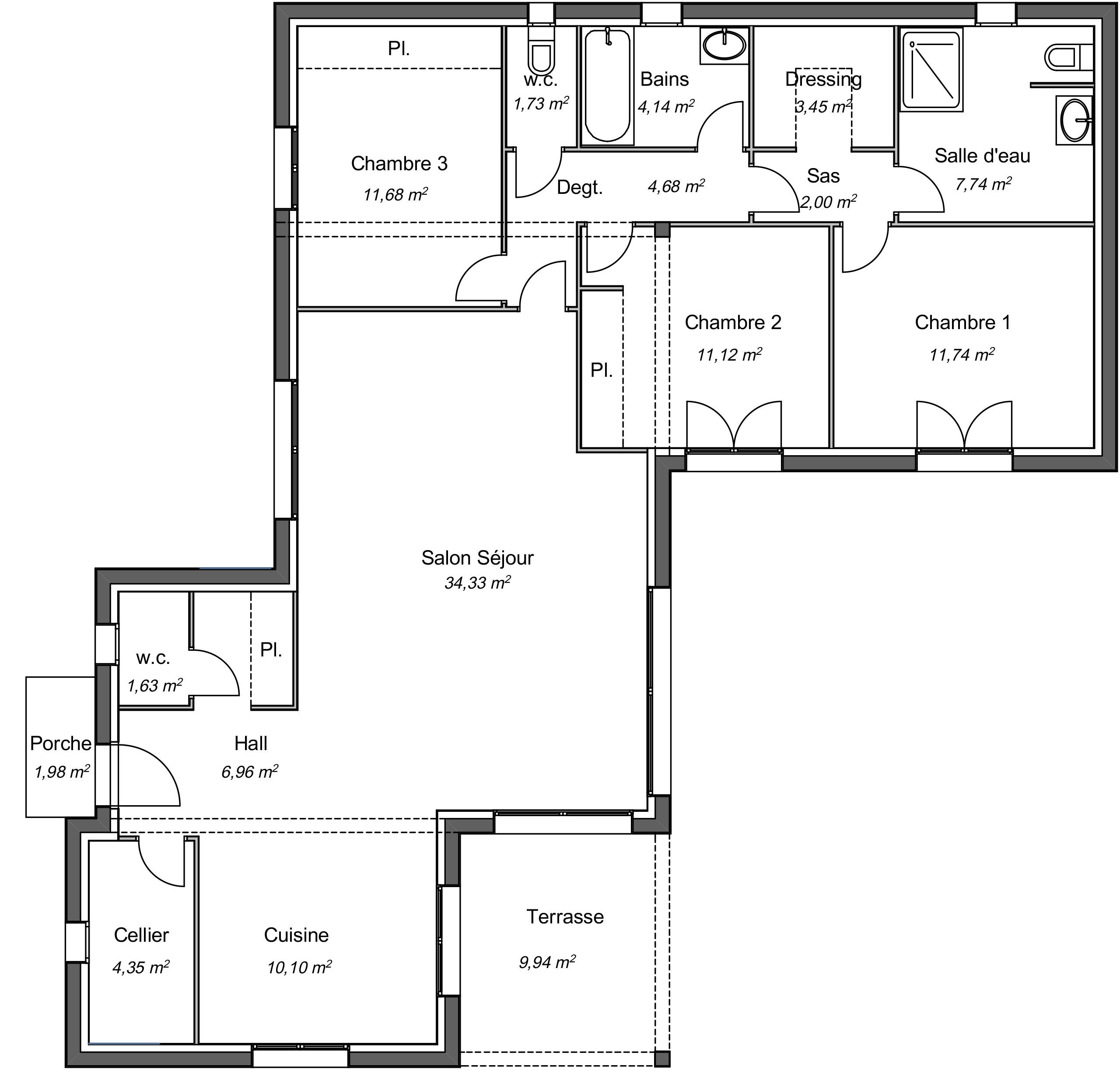 Maison contemporaine plain-pied Seringat avec plans ...