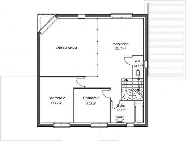 Plan 2D modèle de maison étage - R1 - 140 m² - 3 chambres - 2 sdb - abri voiture