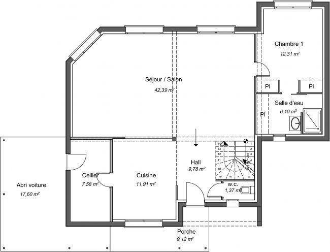 Plan 2D modèle de maison étage - rdc - 140 m² - 3 chambres - 2 sdb - abri voiture
