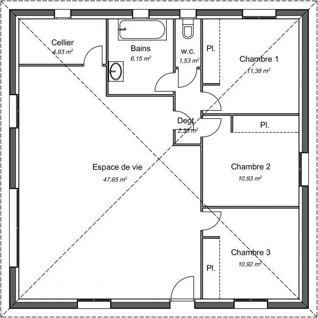 Plan 2D modèle de maison Bonsaï - 95 m² - 3 chambres