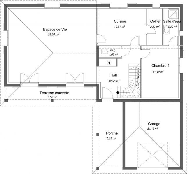 Plan 2D modèle de maison Charme à étage - RDC - 116 m² - 3 chambres + Garage