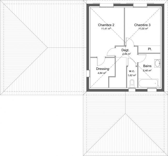 Plan 2D modèle de maison Charme à étage - R1 - 116 m² - 3 chambres + Garage