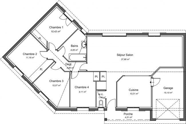 Plan 2D maison en V Ébène 99 m² - 4 chambres + garage