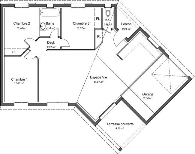 Plan 2D maison Ébène 85 m² - 3 chambres + garage
