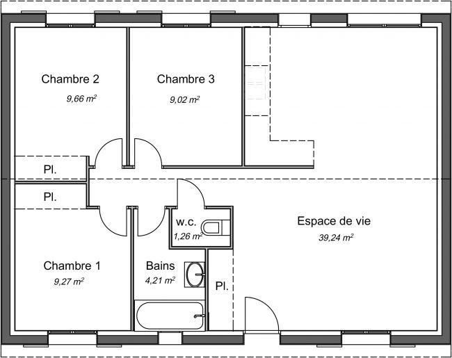 Plan 2D modèle de maison Magnolia 72 m²