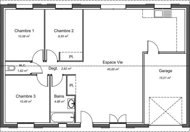 Plan 2D modèle de maison Magnolia 85 m²