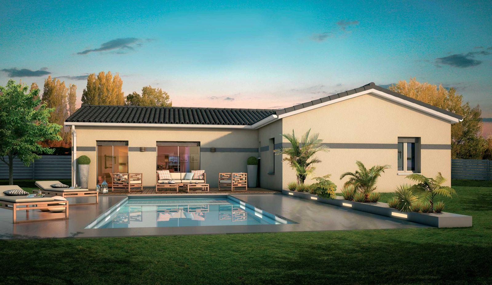 Maison en L d'une surface globale de 115 m² sur un terrain de 430 m² viabilisé à Léognan 33850